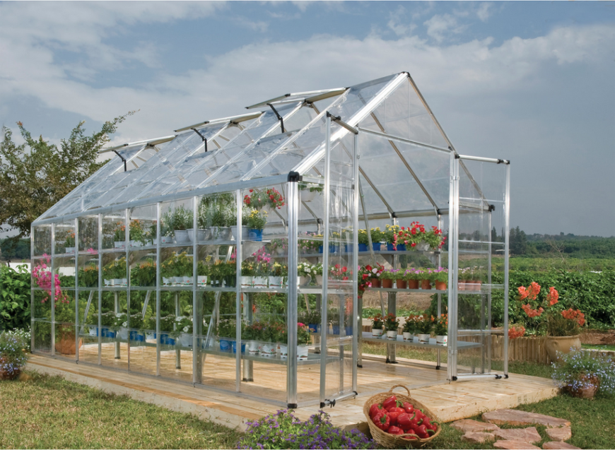 Here is a simple greenhouse with a double door. This greenhouse is a great place to start the growing season early and get those flowers blooming as soon as possible