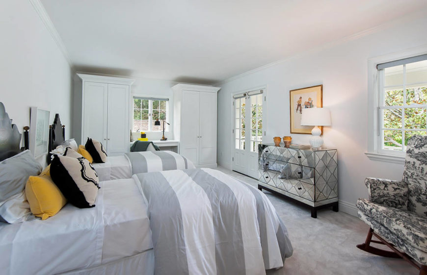 Soft Colors Like Gray And Charcoal Can Be Used Safely In A Mostly White  Bedroom To