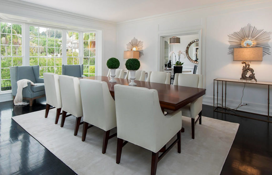 This Bright And Elegant Dining Room Is Spacious Enough For A Long Dinner Table Still
