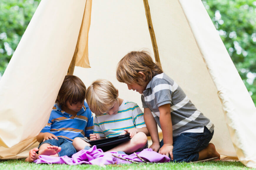 If you are looking for a more portable solution, or a structure that can be taken down during the winter months, consider a teepee! You can even decorate the fabric to complement your children's interests.