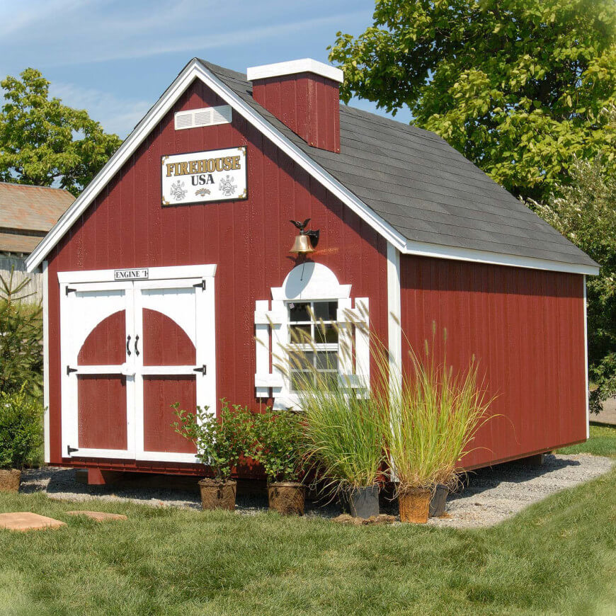 Sirens will sound when your kids play in this firehouse inspired playhouse, equipped with wide barn doors (great for running in and out) and a chimney.