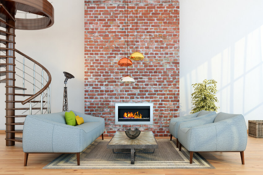 Gentil Small Living Room Arrangement With A Brick Fireplace.