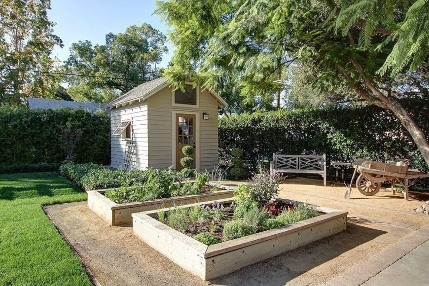 there are two lovely neutral toned wooden raised garden bed in this wonderful garden area - Raised Bed Garden Design Ideas