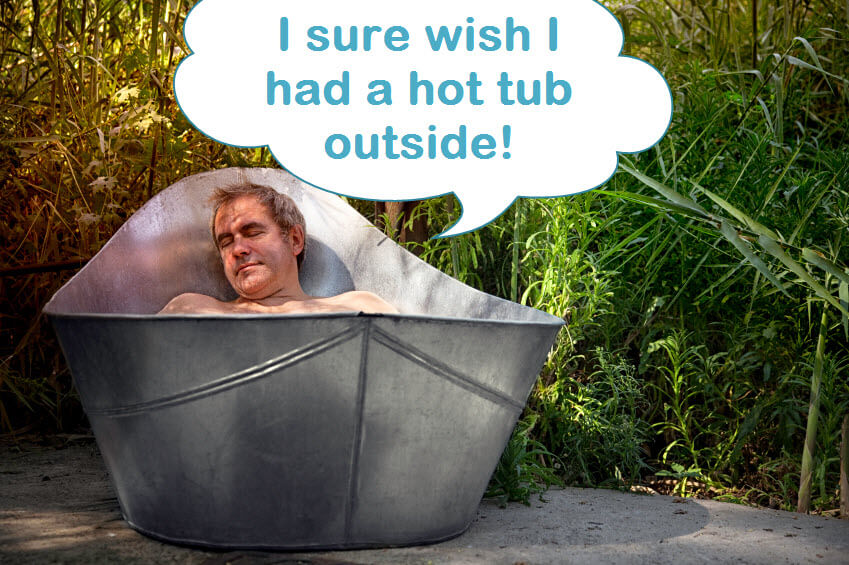 man wishes he had a hot tub on a deck