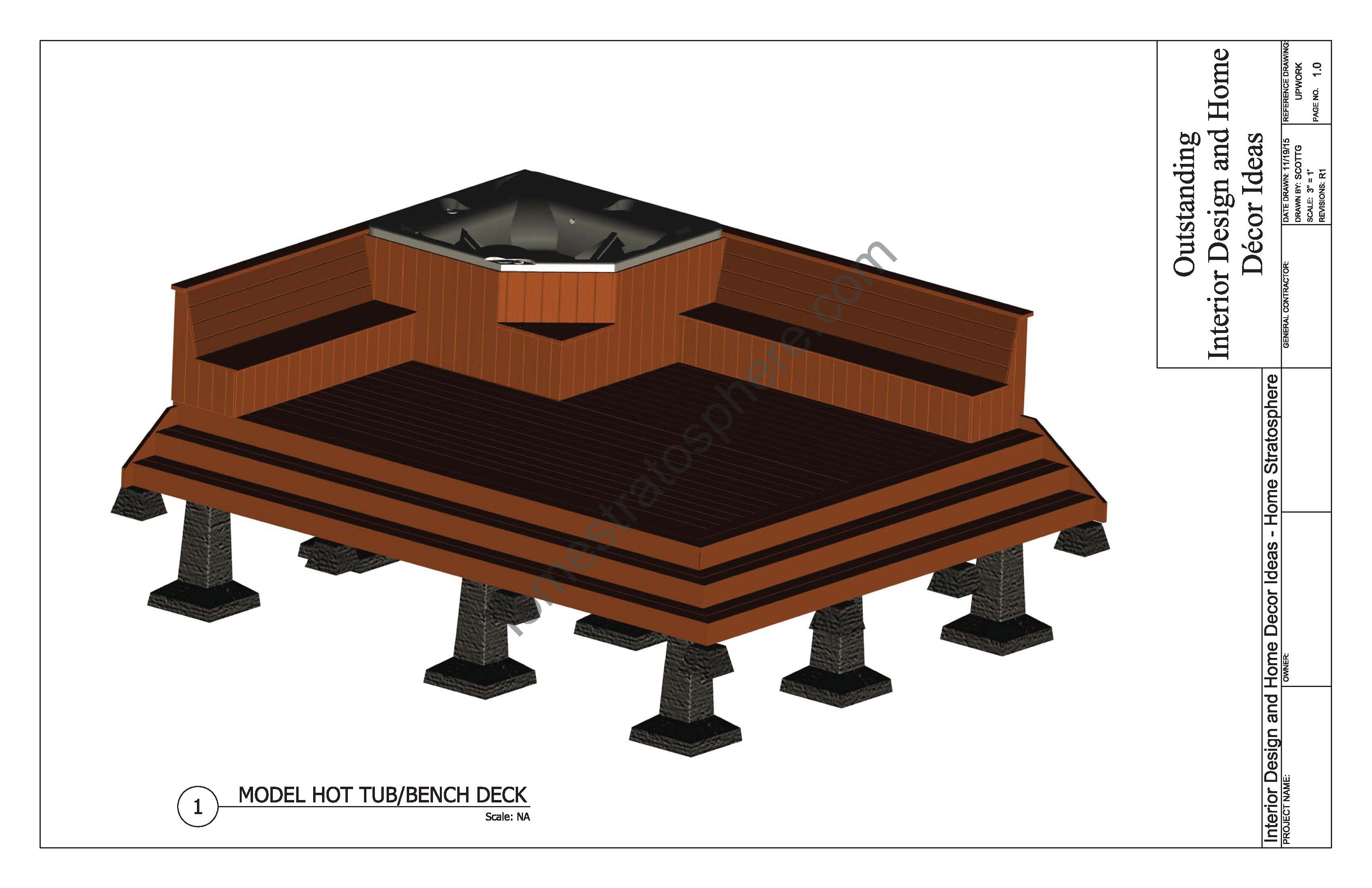 Hot tub deck design plan free pdf download for Free online deck design