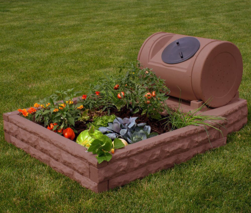 This small plastic raised garden bed is designed to look like brick. It also has a small storage unit attached. Here we see this garden bed being used as a small vegetable garden. This is great for a personal vegetable garden, or for a small group of people.