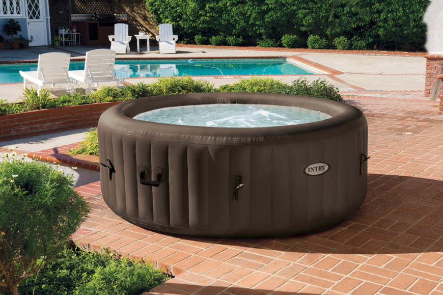 This is a picture of an inflatable and mobile hot tub. These are great for people that are not sure they want to invest the money, time, or space to a permanent structure. A hot tub can be an investment, and this option is a great way to test if a hot tub is really for you.