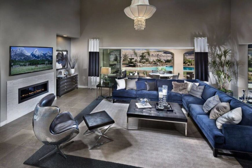 blue sofa living room ideas. This is an example of a more typical sectional sofa  The seating ample 35 Lovely Living Room Sofa Ideas