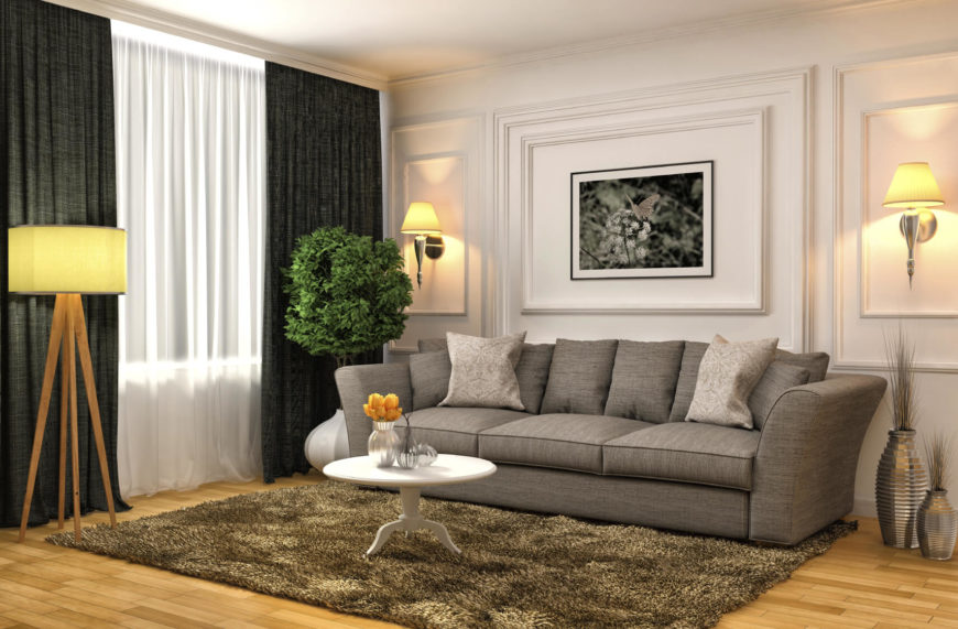 Here is a simple couch that can work in any number of different living room styles. A neutral color such as a white or grey allows a sofa to fit in well with almost any color palette. You can't go wrong with a sofa like this.
