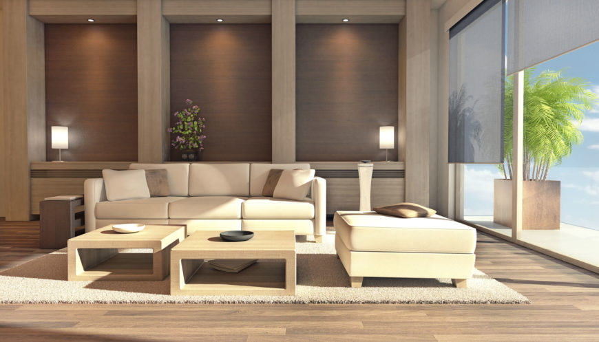 This Living Room Has Two Coffee Tables With A Natural Wood Tone Finish.  This Pairs