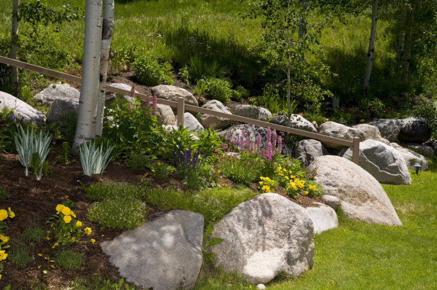 32 backyard rock garden ideas for Large garden ideas