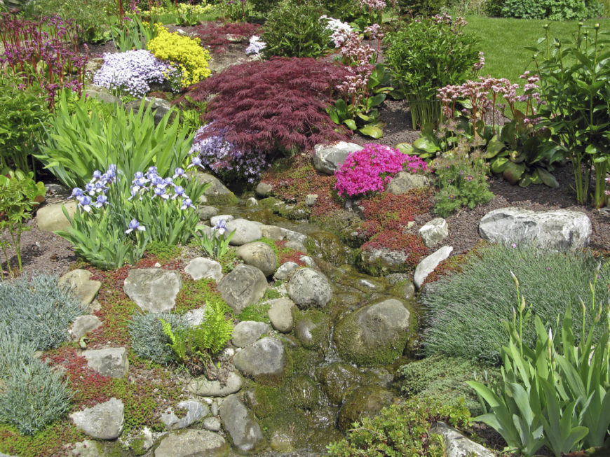 You can guide water through your garden with a lining of rocks. This can make your garden look like a wild river bed.