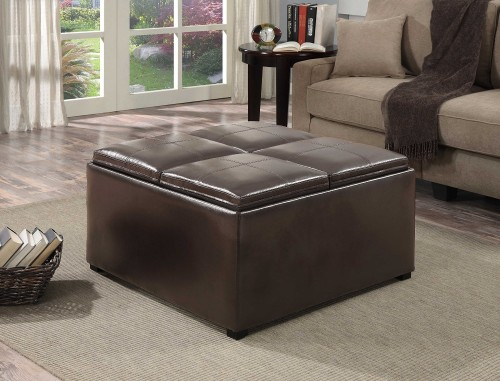 Square brown storage ottoman