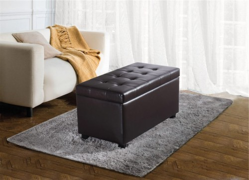 Rectangle dark brown storage ottoman