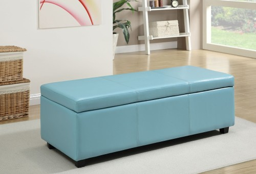 Light blue storage ottoman