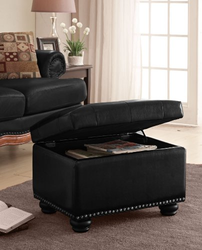 Elegant dark brown square storage ottoman