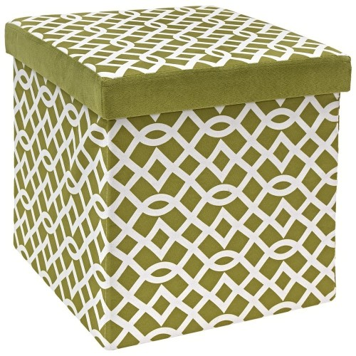 Green and white patterned storage ottoman