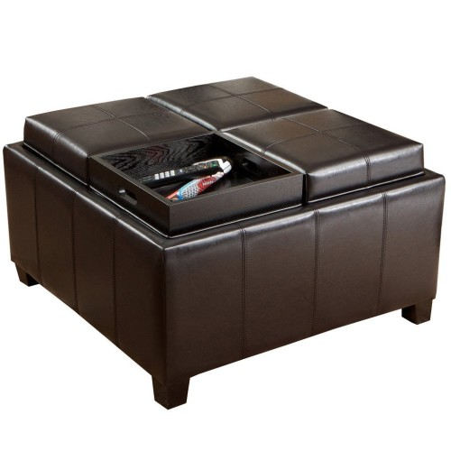 Large square storage ottoman with 4 serving trays on top