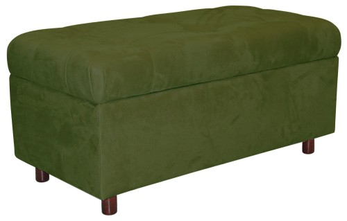 Large green rectangle storage ottoman