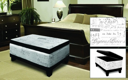 White storage ottoman with dark wood frame
