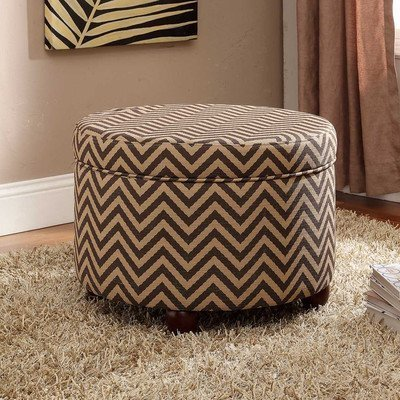 Dark and light brown patterned round storage ottoman