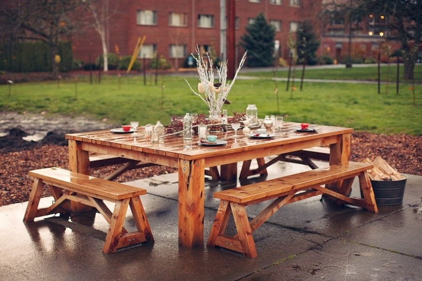 Alluring Picnic Table Ideas - Square picnic table with benches