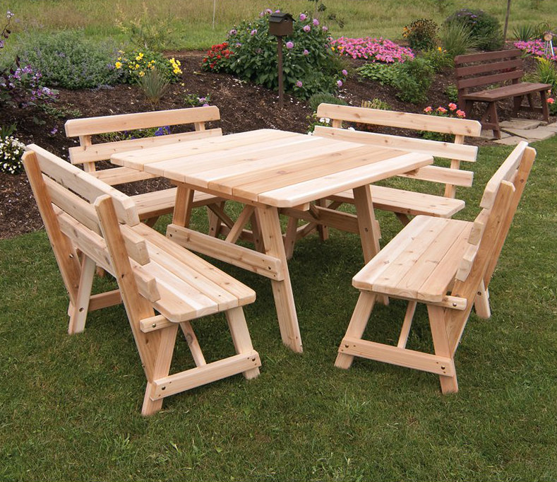 This square picnic table has benches of the same size on all sides. This can help the meal to not feel lopsided. Sometimes it can be difficult to converse with everyone at the table if they are all on the same side of the table.