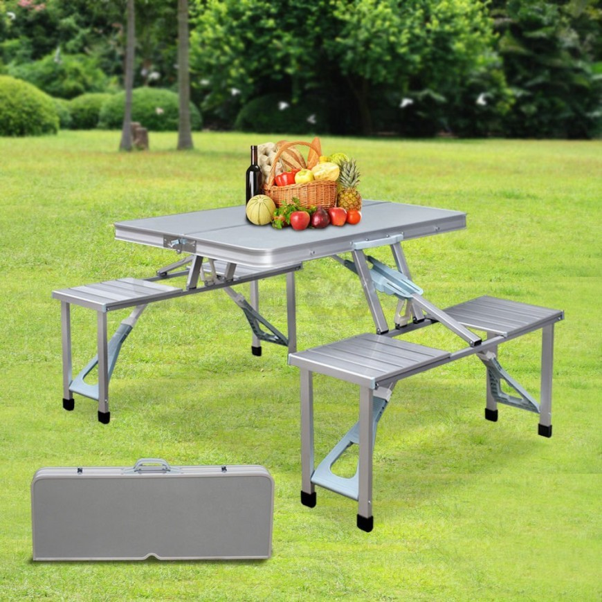 If you need a more portable option this picnic table has you covered. This picnic table is foldable and can be easily transported. This is useful if you need a table on the go or don't want your table taking up your space when not in use.