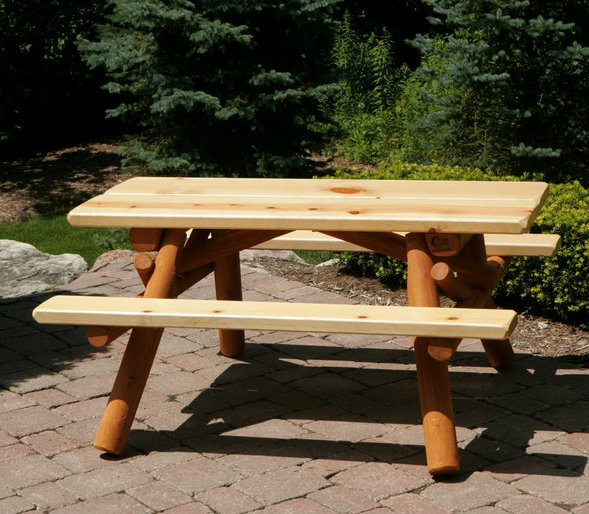 Here is a small two-toned picnic table. This small table is great when you are limited on space but still want a place to eat outside. This table can work in almost any area.