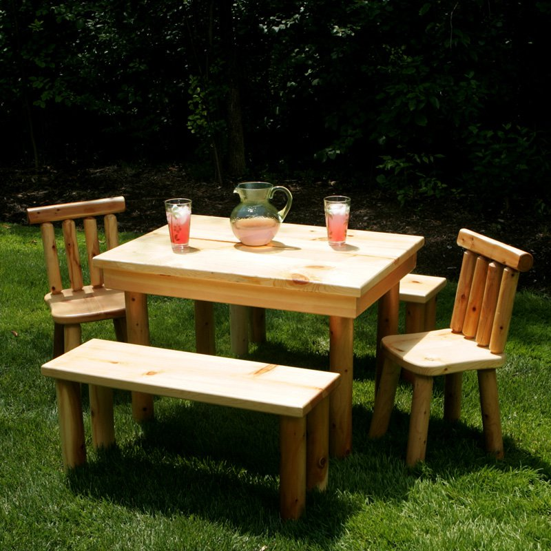 You don't need much room for some styles of picnic tables. Even small picnic tables are designed to fit a number of people around them. This small picnic table has enough seating for six people even though it appears small.