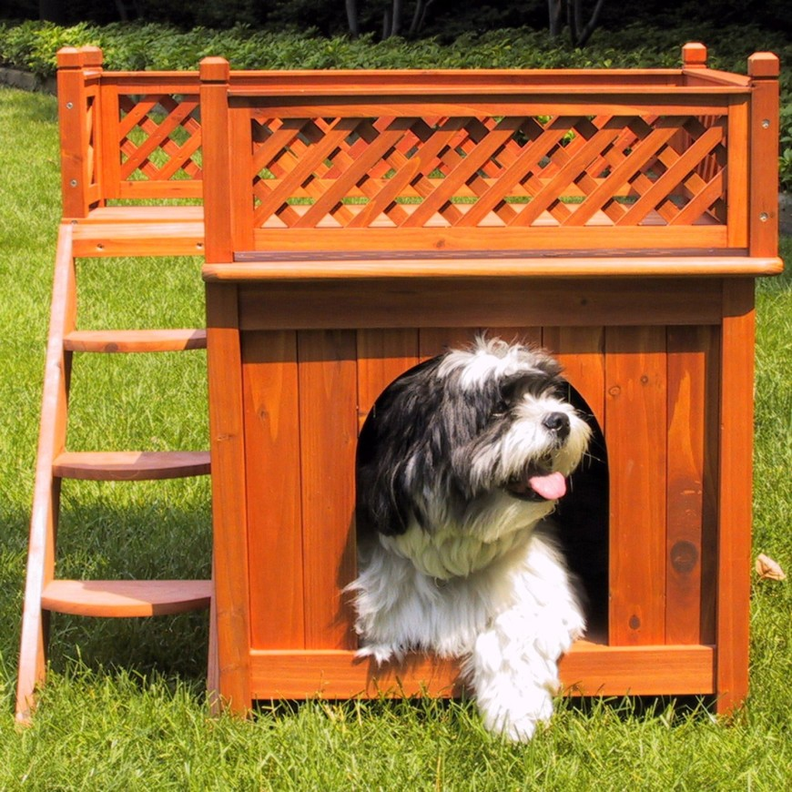 This adorable cedar wood dog house is perfect for small lapdogs, and has a small deck on the top for the dog to survey his domain. This is a perfect little getaway for the dog to hide out in during the summer when you spend a lot of time outside.
