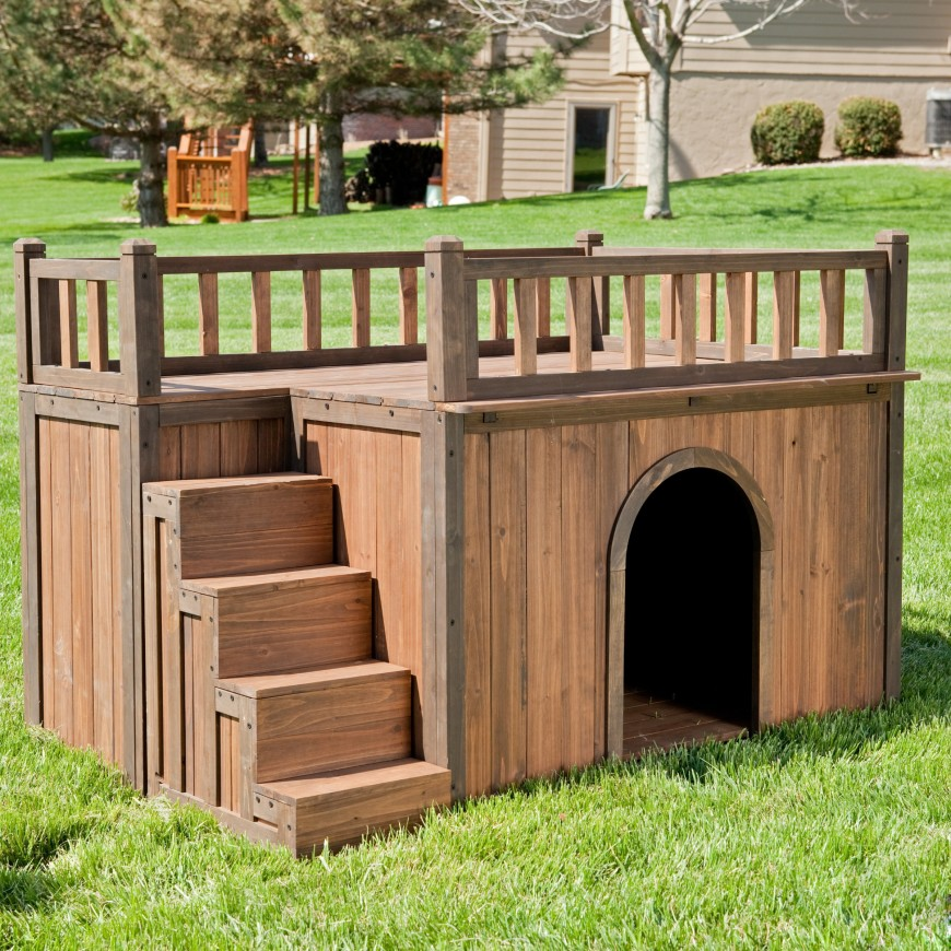 Another square dog house with a deck area on top. This dog house is sized better for a larger dog than the previous example.