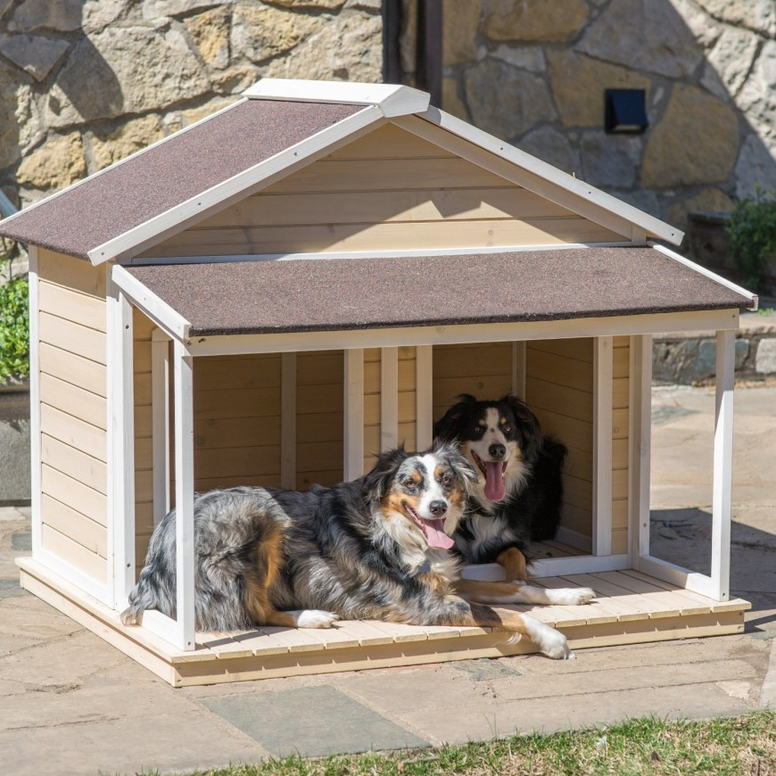 A small porch is just the place for a dog to lay on a sunny day to warm their fur. This contemporary design looks an awful lot like a child's playhouse.