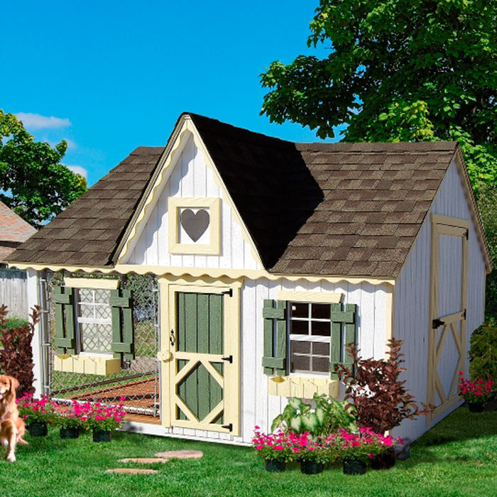 An incredible cottage style dog house with both an interior area and an exterior kennel section. The enormous structure is just the right size for a dog to really feel comfortable, and it has large enough doors for the owners to easily be able to enter the structure.