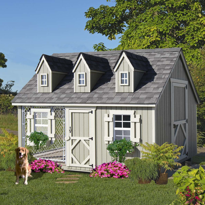 This is another example of a large kennel with an interior area and an exterior kennel. Like the other, it also has a door large enough for humans to easily fit through.