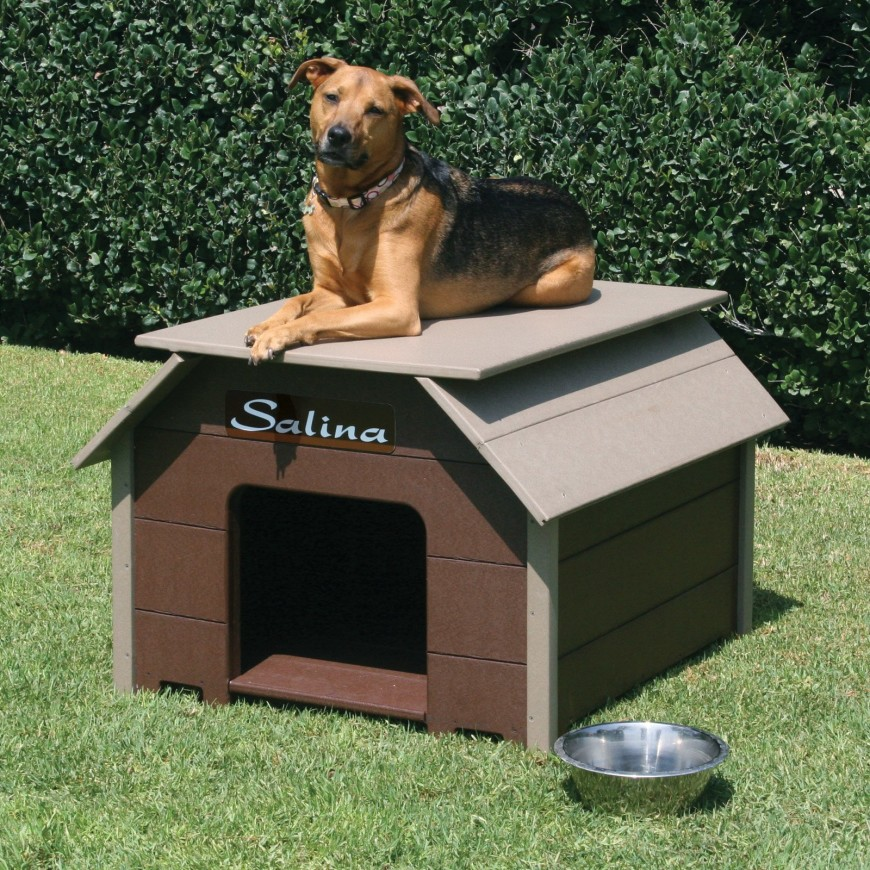 This squat dog house has a flat bed area on top for the dog to lay on and stay out of the grass. A name plate lets you customize this prefabricated dog house.