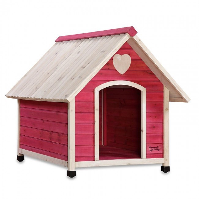 This cute pink wooden dog house is perfect for smaller dogs, and light enough to easily be moved in during winter months.