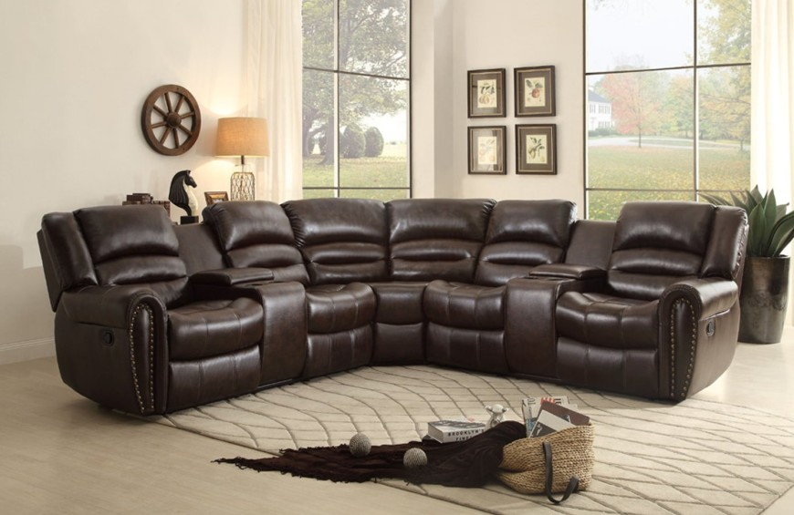 1Brown-L-shaped sofa recliner