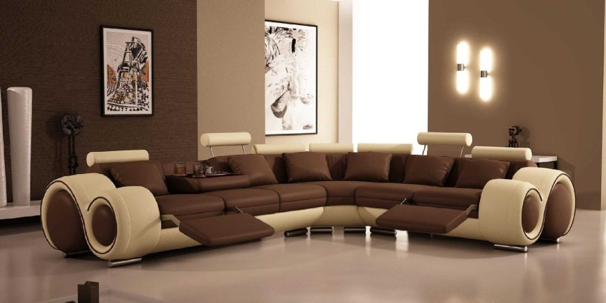 Ultra modern brown and cream reclining sectional sofa