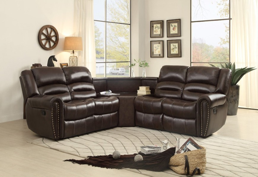 3 Piece Bonded Leather Sectional Reclining Nail Head Accent Sofa