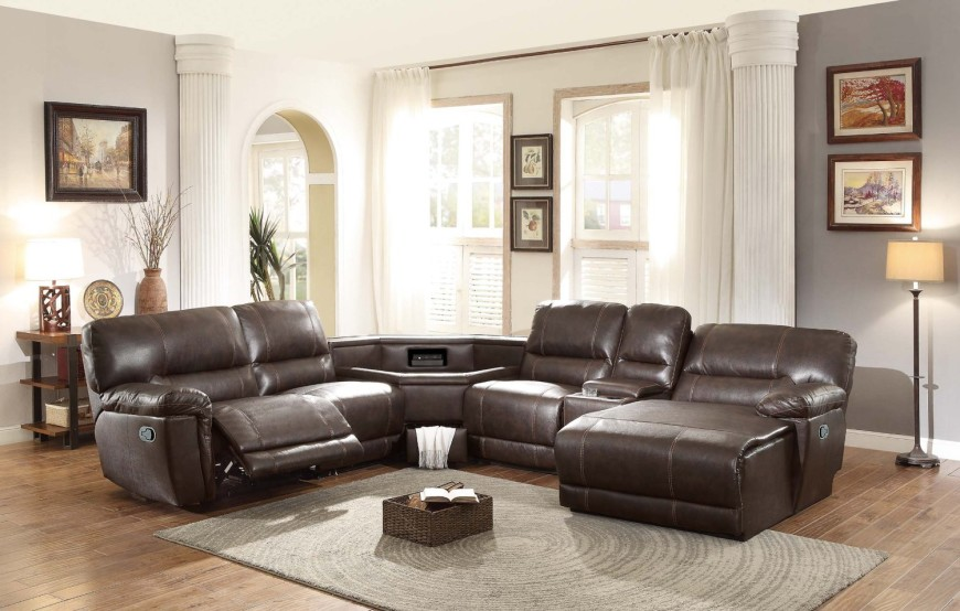 8brown recliner sectional with table console in center - Leather Sectional Couch With Recliner