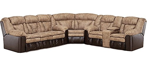 Large Light Brown L Shaped Reclining Sectional Sofa.