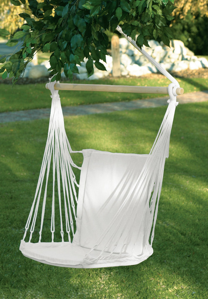 While not technically a hammock, this swinging chair has a lot of hammock-like qualities and a decidedly hammock-style.