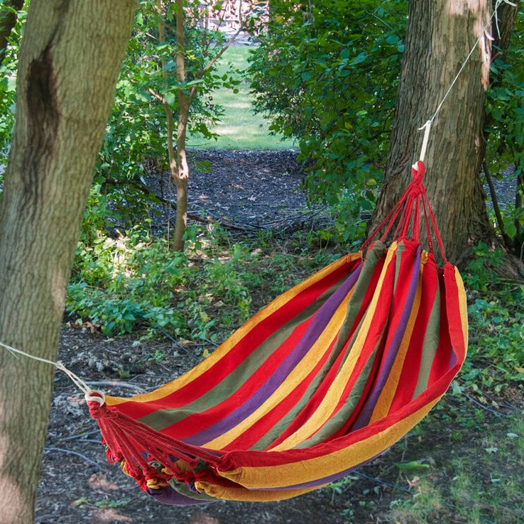 Another super colorful hammock, this time in the Nicaraguan style, which tends to be more stable.
