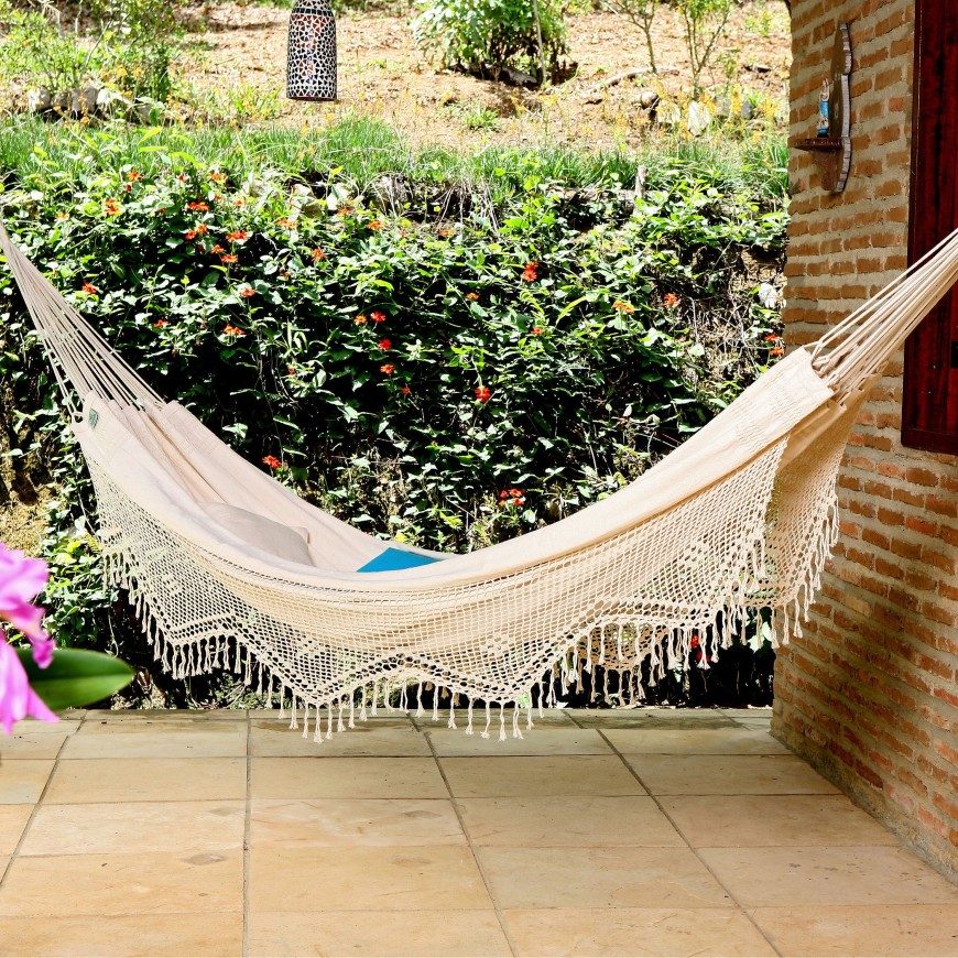 Another gorgeous example of a crocheted edge hammock in the Mayan style.