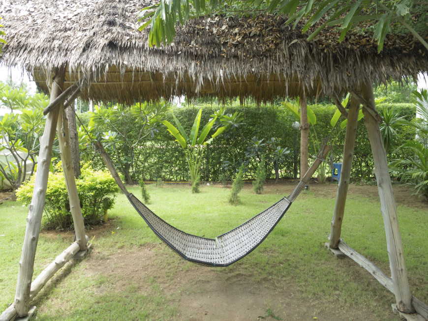 this bamboo hammock has it u0027s own covered structure for shade in this lovely asian style backyard 38 lazy day backyard hammock ideas  rh   homestratosphere