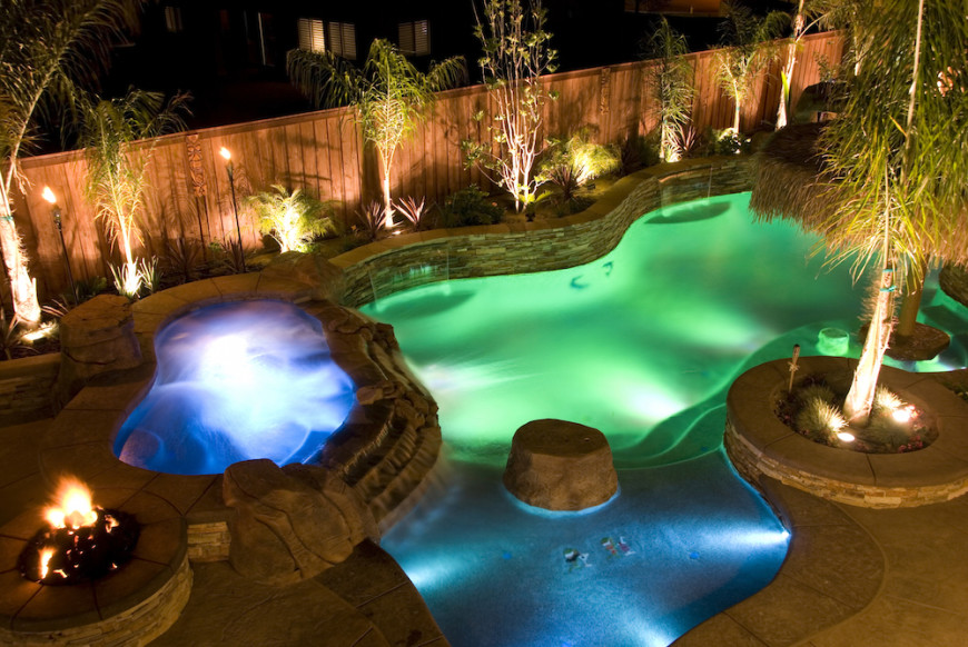 Incredible Pool Lighting In Different Colors Transforms This Into A Fun Nighttime Playground