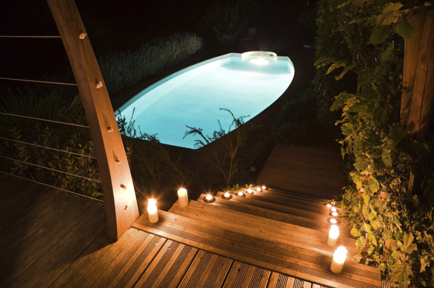 Underwater lighting is an amazing way to highlight your pool. The light reflects on the lining of the pool and is deflected by the pool's water, making the pool appear to glow. This can make the pool a big draw at night.