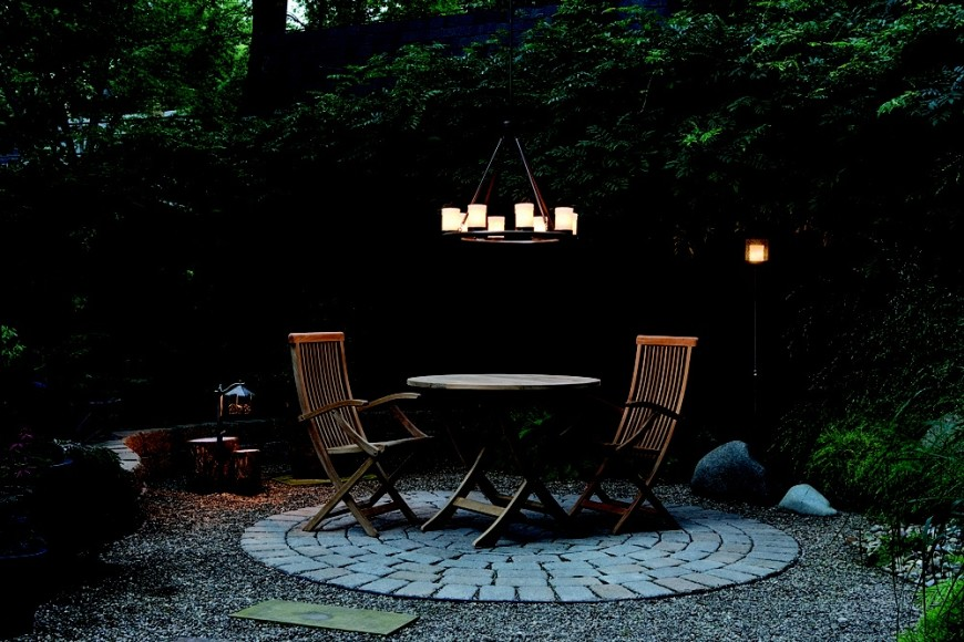 This chandelier provides a nice warm light to this backyard area. This is the type of lighting that is perfect for a romantic and intimate evening out in the yard.