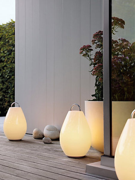 Here we see some interesting outdoor lanterns. These stylish lanterns work in almost any space and can build an interesting and alluring atmosphere.